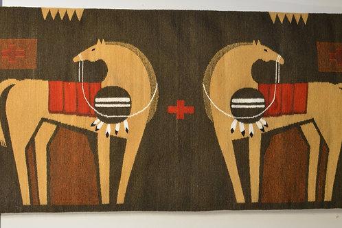 "Two Horses w/ Shield Memories Zapotec Rug - 46"" X 80"""