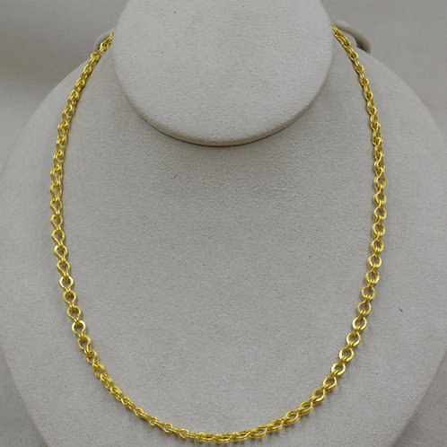22k Gold Roman Flat Sailor's Knot Handmade Chain w/ Garnet by Pamela Farland
