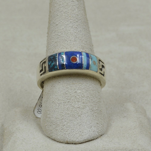 Domed Inlay, Turquoise, Lapis, Coral, & S. Silver 10.5x Ring by Veronica Benally