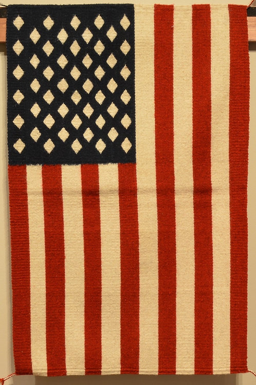 "Zapotec American Flag Rug - 37"" X 24"""