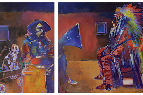 """Diptych - """"Wagon Day and Big Foot's Opera"""" by Farrell Cockrum"""