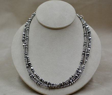 Navajo Pearls Oxidized Sterling Silver 3 Strand Multi-Beads Necklace