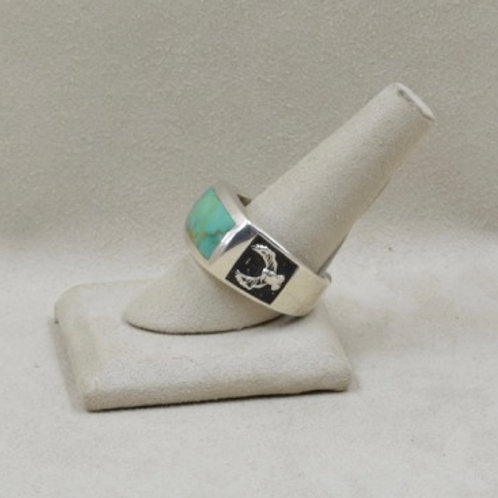 Square Inlay Eagle Band w Kingman Turquoise by JL McKinney 11X