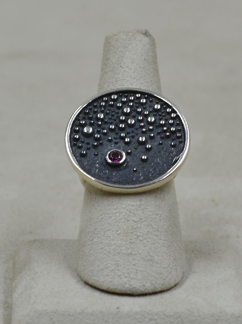 Round Big Bang Rhodolite 8X Ring by Roulette 18