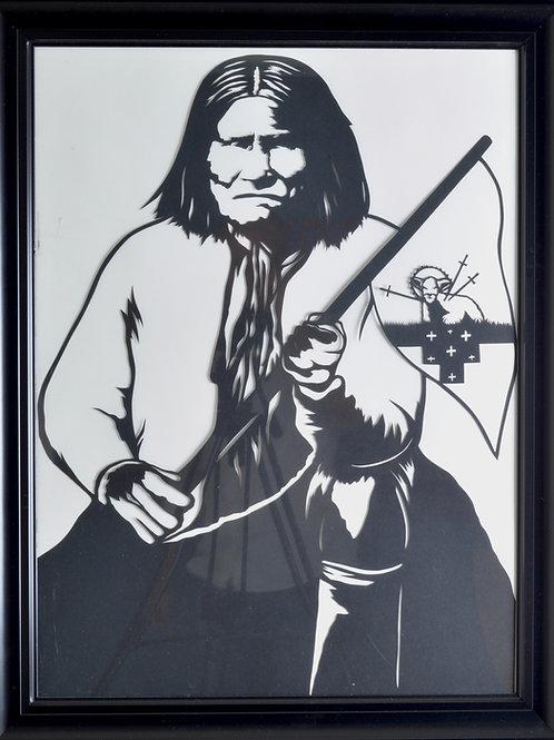 "'Geronimo' Papercut Framed - 27"" x 21"" by Valerie Rangel"