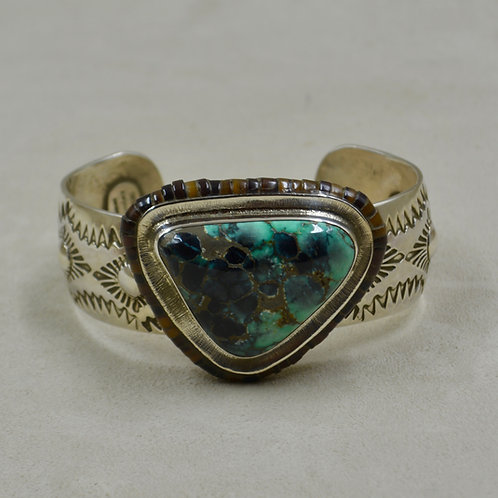 Black Stallion Turquoise & Sterling Silver w/ Shell Inlay Cuff by James Saunders