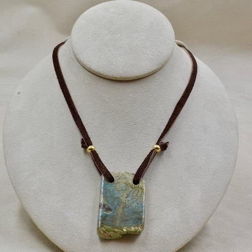 McDermitt Green Jasper Rectangle Necklace on Leather by Joe Glover