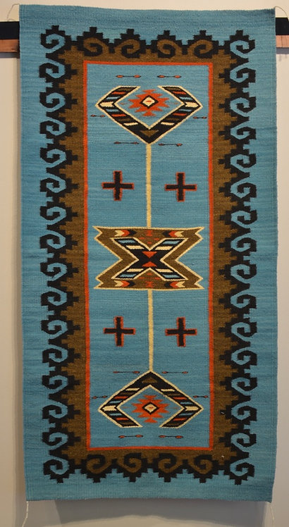 "Fino Bordered Turquoise, No Fringe Zapotec Weaving - 31"" X 68"""