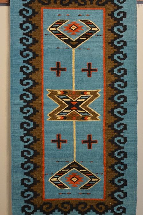 "Fino Bordered Turquoise, No Fringe Zapotec Weaving - 31"" X 68"""