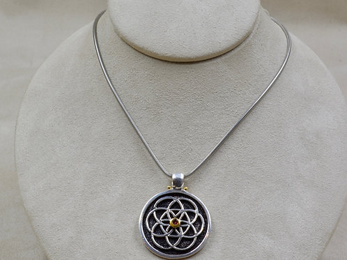 Flower of Life w/ Rhodolite Garnet Pendant by Roulette 18
