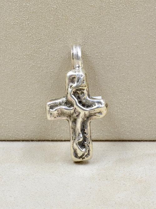 Medium S. Silver Handforged Cross Pendant by Vincent Gioielli
