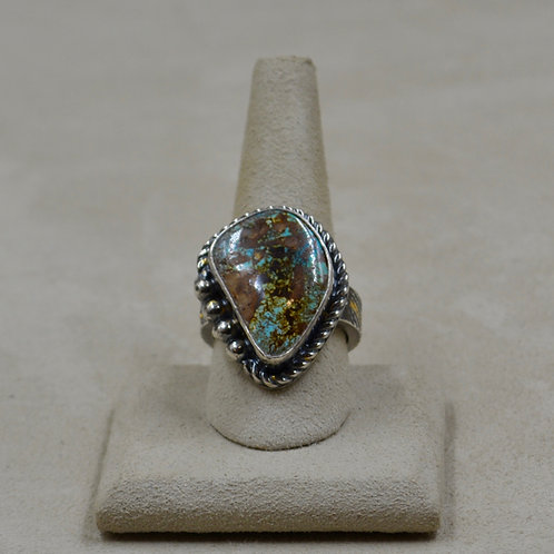 Natural Royston Turquoise, 22k Foil, Keum Boo, 10x Ring by Cheryl Arviso