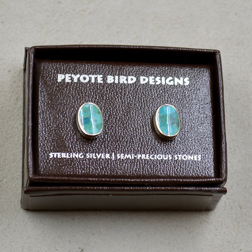 Oval Turquoise Wave Post Earrings by Peyote Bird Designs