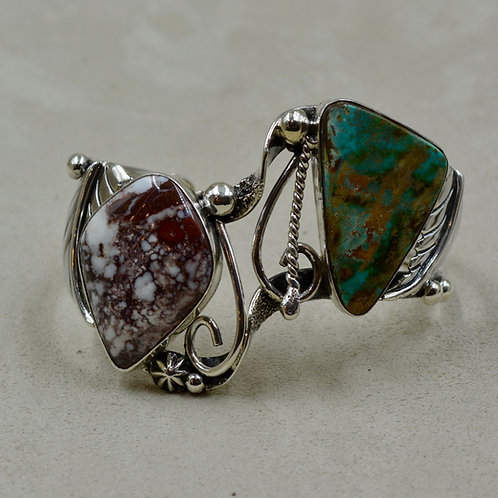 Asymmetrical Cuff w/ Nat. Royston Turquoise & Wildhorse Stone by Cheryl Arviso