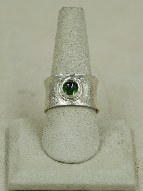 Fine Silver w/ Tourmaline & Cabochon 8x Ring by Pamela Farland