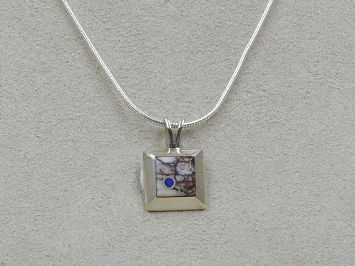 Small Square Magnesite, Lapis & Sterling Silver Pendant by Veronica Benally