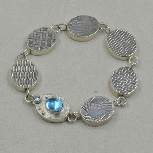 Hand Fabricated Sky Blue Topaz and Sterling Silver Bracelet by Michele McMillan