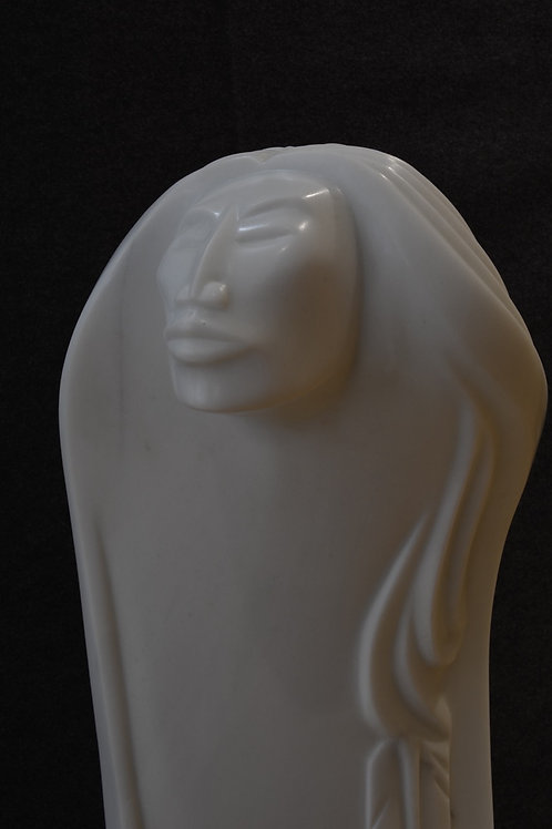 """""""Tall Woman"""" White Marble by Bruce LaFountain, Chippewa"""