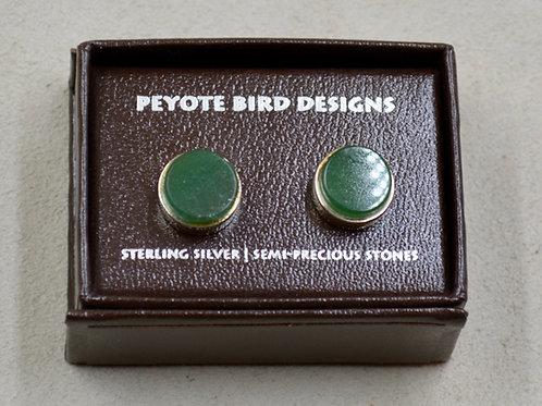3-D Large Round Aventurine Post Earrings by Peyote Bird Designs