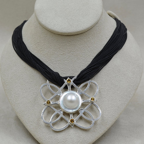 Black Multi-Chained w/ Pearl, Citrine & SS Necklace by Michele McMillan