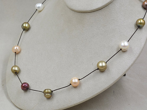 Cultured Freshwater 10.5-11mm White & Enhanced Color Pearls Necklace by US Pearl