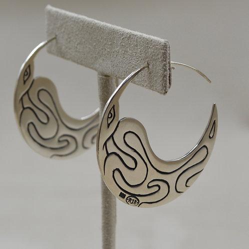 Sterling Silver Raven Hoop Earrings by Roulette 18
