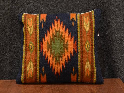 Set of 2 Centered Geometric Navy & Orange Zapotec Peanut Pillows