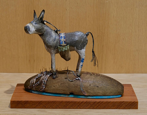 """""""Donkey on a Dome Amid the Wheat"""" Mixed Sculpture by Valerie Dunning Edwards"""