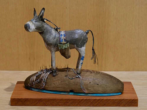 """Donkey on a Dome Amid the Wheat"" Mixed Sculpture by Valerie Dunning Edwards"