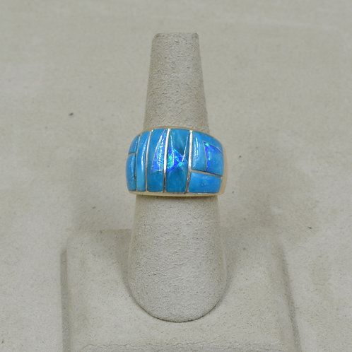 King Turquoise, Lab Opal, & Sterling Silver 7x Ring by GL Miller Studio