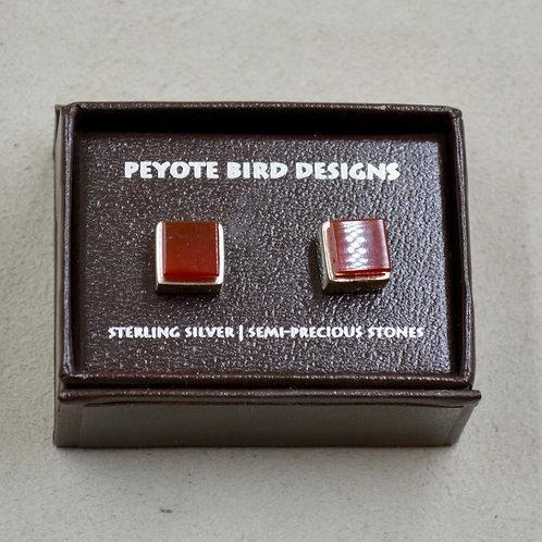 3-D Large Carnilian Square Post Earrings by Peyote Bird Designs