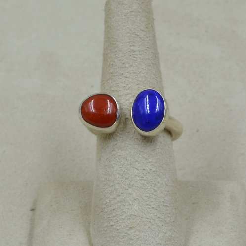 Coral, Lapis, and Sterling Siler Cabs Ring (Adj) by Joe Glover