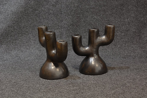 Black Fired Pair of Candlesticks - Mexico