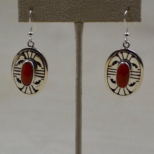Mediterranean Coral & Sterling Silver Wire Earrings by Leonard Nez