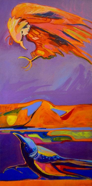 """Ambush on the Mesa"" Enhanced Giclee 40"" x 20"" by Malcolm Furlow"