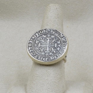Sterling Silver Cast Italian Coin 7X Ring by Michele McMillan