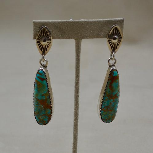 Kingman Turquoise & Sterling Silver Long Drop Earrings by James Saunders