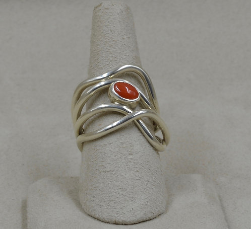 Sterling Silver Journey Ring w/ Coral 8.5X by Tim Busch