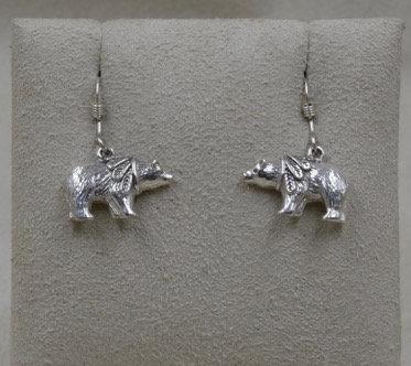 Small Sterling Silver Medicine Bear Earrings by Lente