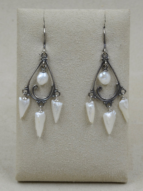 Natural American Baroque Pearl SS Spikes/Wires Earrings by US Pearl Co.