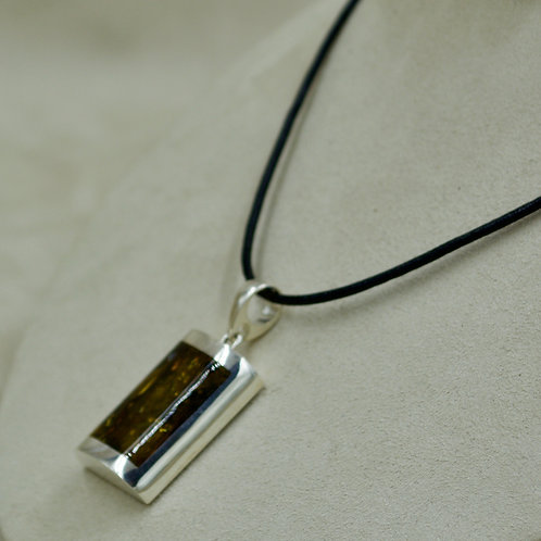 Green Amber & Sterling Silver 1/2 Dome Rectangle Pendant by MTM Silver