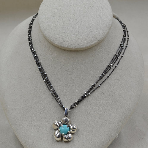 Gunmetal Over Sterling Silver 4 Strand w/ Bayonet Clasp Necklace by Reba Engel