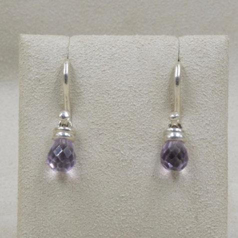 Amethyst Drop on Sterling Silver Wire Earrings by Michele McMillan