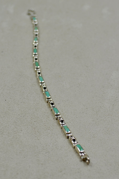 Sterling Silver Green Turquoise Link Inlay Tennis Bracelet by Peyote Bird