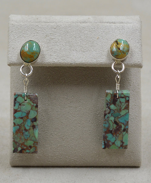 Sterling Silver Post Turquoise Compressed Nuggets Earrings by Estefanita Ca'Win