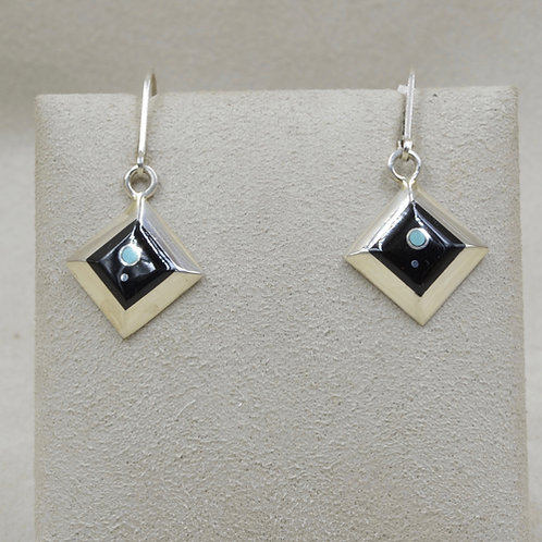 Sterling Silver Square Hook w/ Flat Inlay Earrings by Veronica Benally