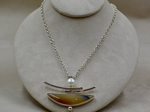 Montana Agate w/ Freshwater Pearl Sterling Silver Pendant by Jacqueline Gala