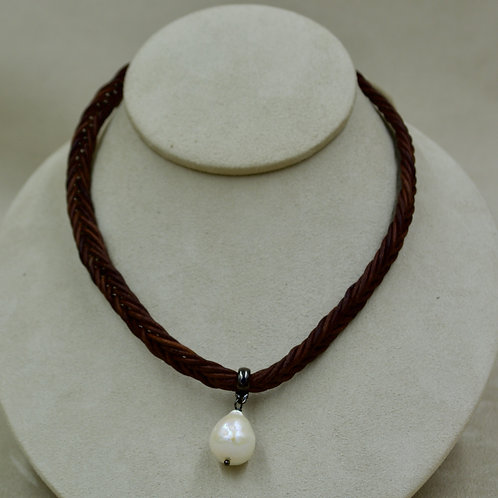 Cultured Freshwater White Fireball Pearl on Brown Leather Choker by US Pearls