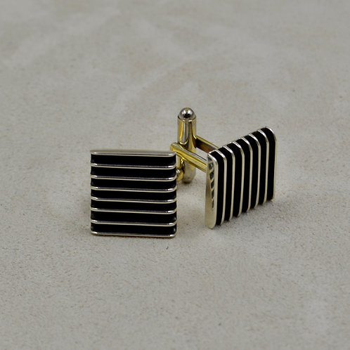 Oxidized Sterling Silver 8 Row Square Cufflinks by Frances Jones