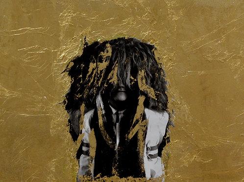 """Lirn 27"" Black & White Photo w/ Gold Leaf -12"" x 16"" -by Robert Mesa"